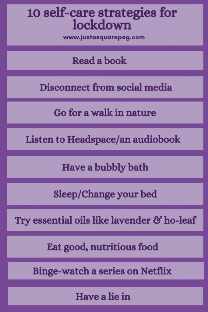 10 self care strategies for lockdown pin